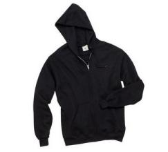 Black Plain Zip Up Hooded Jacket
