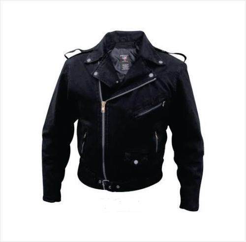 Leather Style Black Denim Jacket