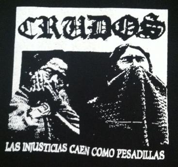 LOS CRUDOS - Las Injusticias (white on black) - Patch