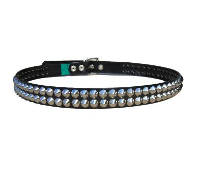 Cone Studded Nickel 2 row - (Non Leather)