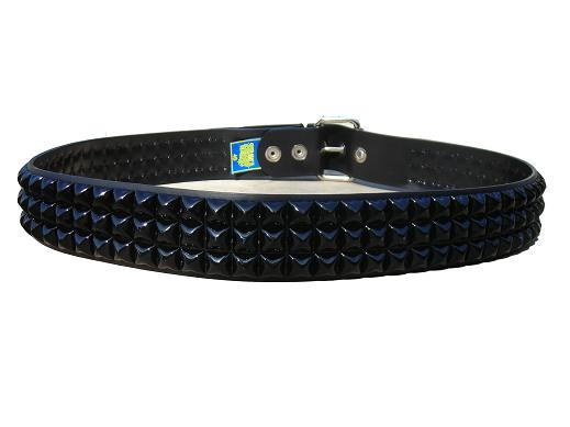 Pyramid Studded Black 3 row - (Non Leather)