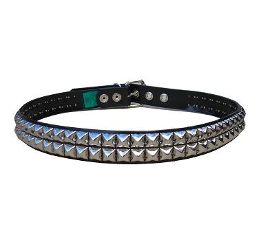 Pyramid Studded Nickel 2 row - (Non Leather)