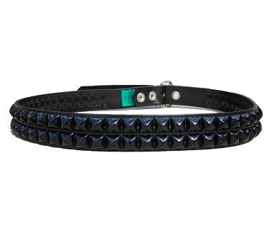 Pyramid Studded Black 2 row - (Non Leather)
